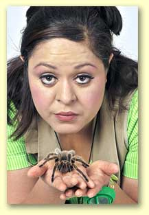 Photo of Bernadette the Bug Lady, a Dallas Fort Worth daycare performer, with a tarantula.