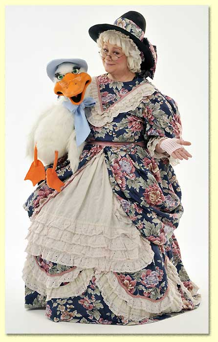 Picture of Mother Goose with one of her most popular puppets - Goosey.