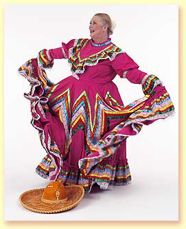 Thumbnail photo of Margaret Clauder dressed in a Jalisco region dress with a decorated sombrero.