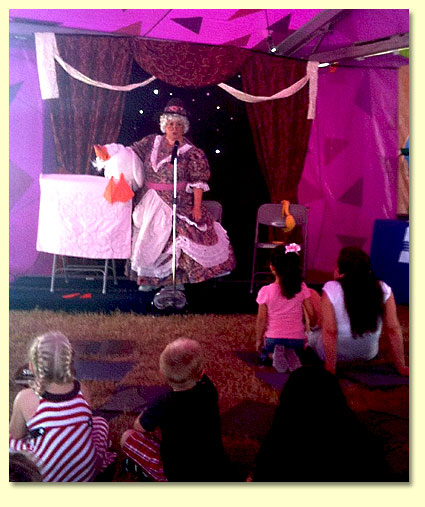 Margaret Clauder as Mother Goose, performing in the children's tent at the 2010 Texas State Fair.